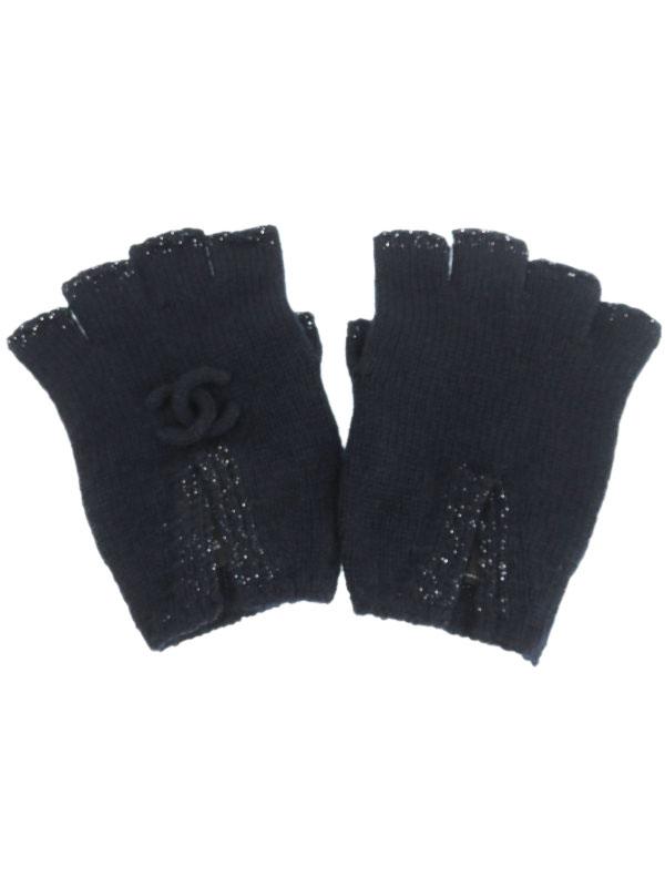 【CHANEL】【指なし】【ココマーク】【英国製】シャネル『ニット フィンガーレス 手袋』レディース グローブ 1週間保証【中古】b02f/h22B
