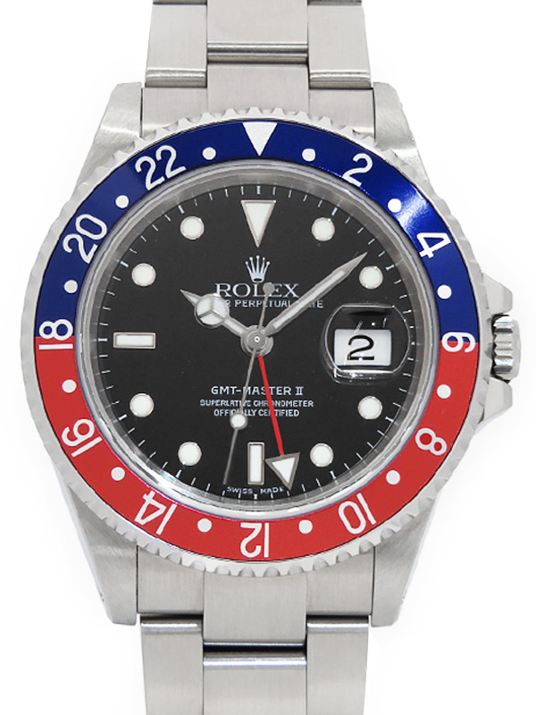 【ROLEX】【'18年日ロレOH済】ロレックス『GMTマスター2 赤×青ベゼル』16710 Y番'02年頃製 メンズ 自動巻き 12ヶ月保証【中古】b02w/h03A