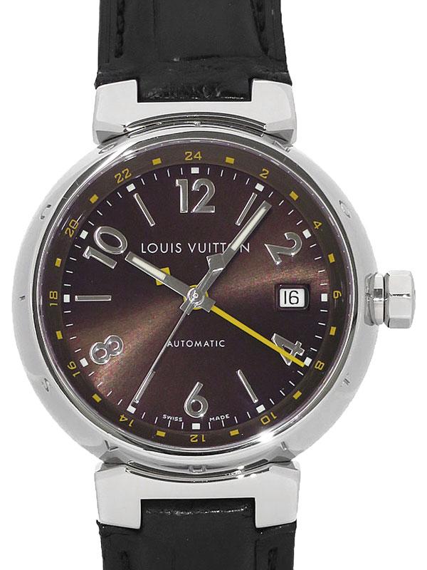 【LOUIS VUITTON】ルイヴィトン『タンブール GMT』Q11310 メンズ 自動巻き 3ヶ月保証【中古】b01w/h00AB