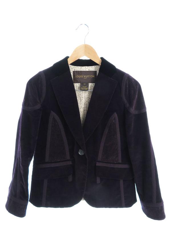 【Louis Vuitton】【フランス製】【上下セット】ルイヴィトン『コーデュロイ・ベロア スカートスーツ size36』レディース セットアップ 1週間保証【中古】b03f/h11AB