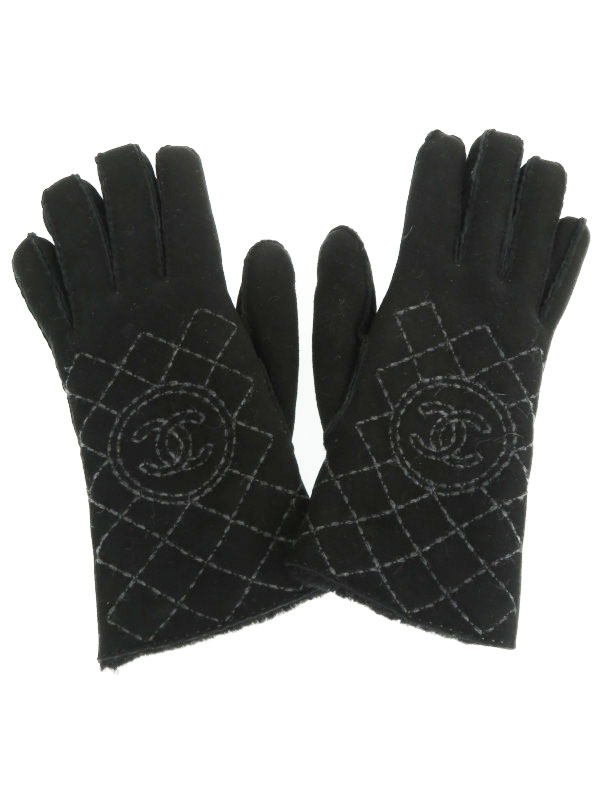 【CHANEL】【ココマーク】【フランス製】シャネル『レザーグローブ size7 1/2』レディース 手袋 1週間保証【中古】b03f/h22A