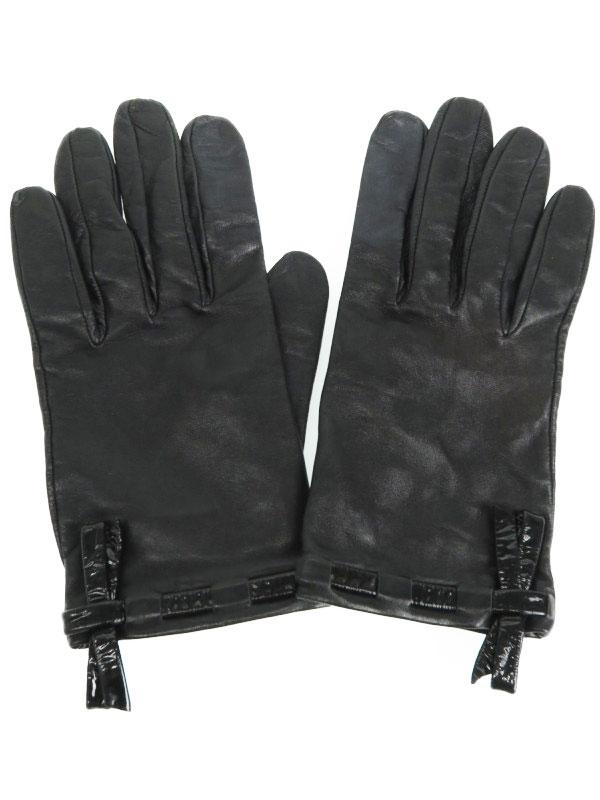 【CHANEL】【フランス製】シャネル『レザーグローブ size7』レディース 手袋 1週間保証【中古】b01f/h03AB