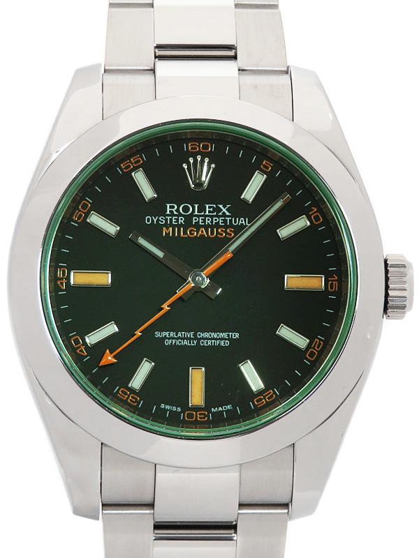 【ROLEX】【'11年購入】【仕上済】ロレックス『ミルガウス グリーンガラス』116400GV ランダム番 メンズ 自動巻き 12ヶ月保証【中古】b05w/h20A