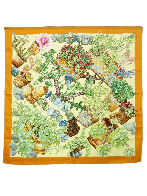 【HERMES】【JARDIN SECRET】【フランス製】エルメス『カレ90 秘密の庭』レディース スカーフ 1週間保証【中古】b02f/h09A