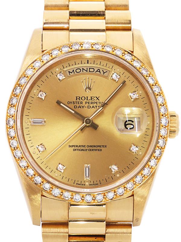 【ROLEX】【仕上済】ロレックス『デイデイト 11P&ベゼルダイヤ』18348A L番'89年頃製 メンズ 自動巻き 12ヶ月保証【中古】b01w/h17A