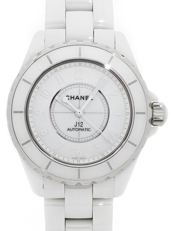 【CHANEL】【OH・仕上済】シャネル『J12 ホワイトファントム』H3443 メンズ 自動巻き 3ヶ月保証【中古】b03w/h17A