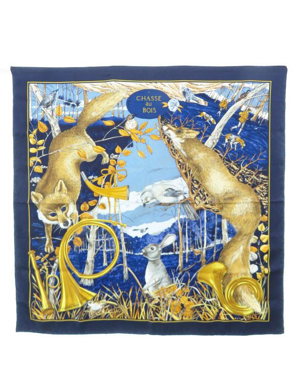 【HERMES】【CHASSE au BOIS】【フランス製】エルメス『カレ90 森の狩猟』レディース スカーフ 1週間保証【中古】b01f/h21B