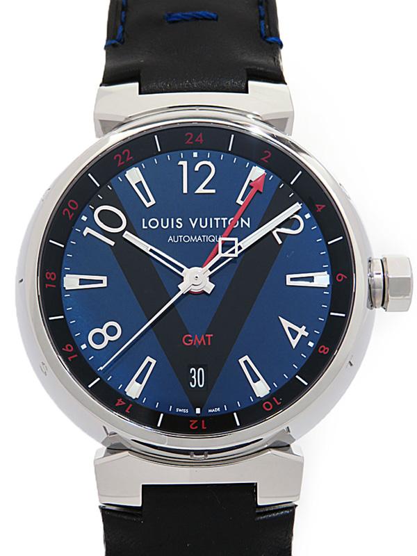 【LOUIS VUITTON】【仕上済】ルイヴィトン『タンブール オートマティック GMT』Q11570 メンズ 自動巻き 3ヶ月保証【中古】b06w/h17AB