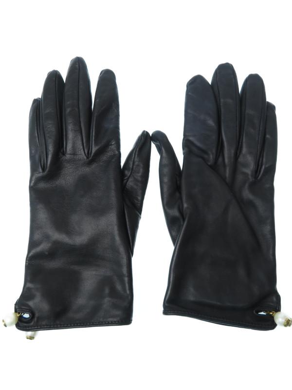 【GUCCI】【イタリア製】グッチ『レザーグローブ size7 S』408795 BAP0T レディース 手袋 1週間保証【中古】b01f/h08B