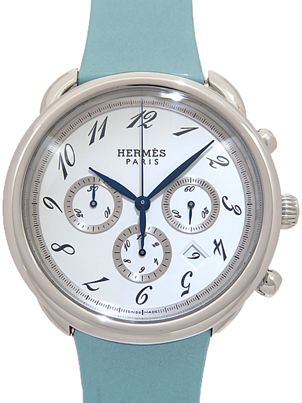 【HERMES】【仕上済】エルメス『アルソー クロノグラフ』AR4.910 メンズ 自動巻き 3ヶ月保証【中古】b05w/h22AB