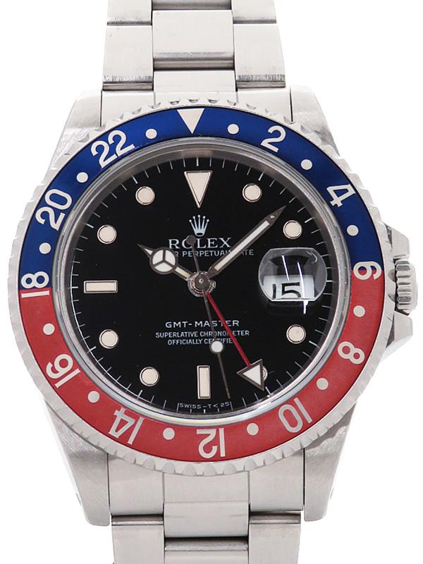 【ROLEX】【ペプシベゼル】【シングルバックル】【OH済】ロレックス『GMTマスター 赤×青ベゼル』16700 E番'90年頃製 メンズ 自動巻き 12ヶ月保証【中古】b01w/h09B