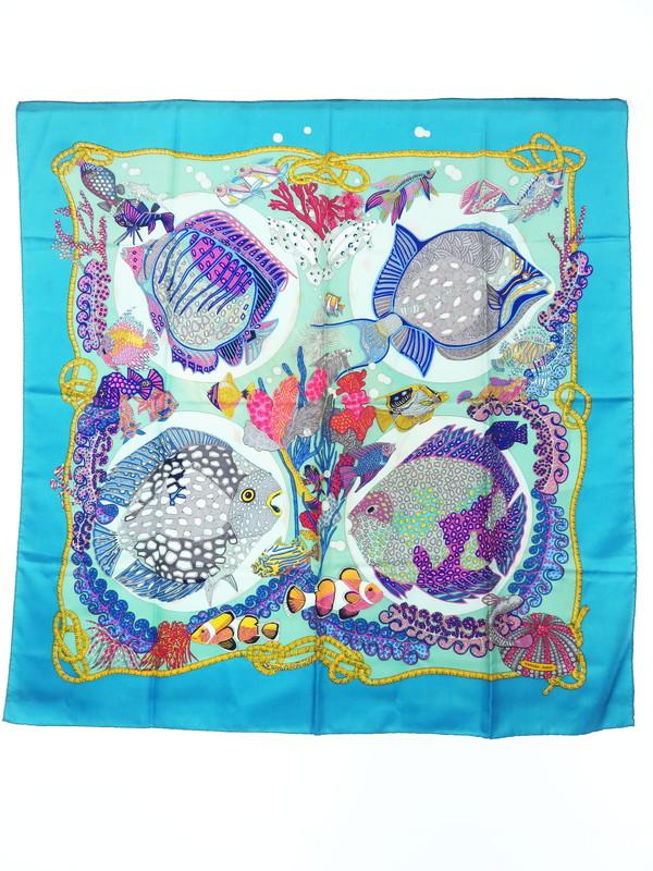 【HERMES】【Grands Fonds】【魚】エルメス『カレ90 深海』レディース スカーフ 1週間保証【中古】b02f/h20B