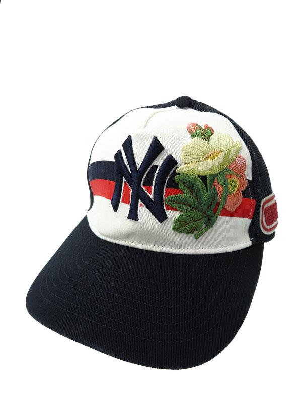 【GUCCI】【MLB】【NYヤンキース】【イタリア製】グッチ『キャップ size55-59』ユニセックス 帽子 1週間保証【中古】b02f/h19AB