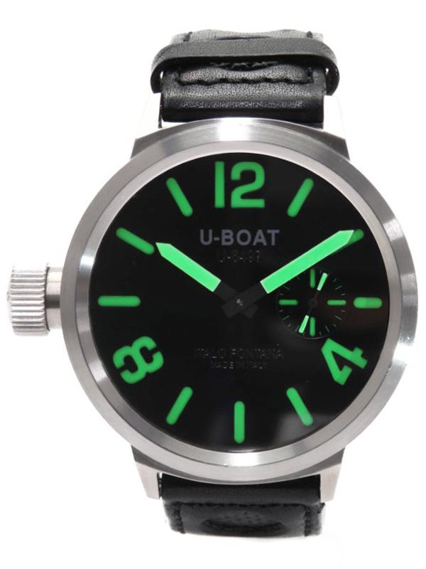 【U-BOAT】【裏スケ】Uボート『フライトデック』U-6497 メンズ 手巻き 1ヶ月保証【中古】b01w/h08A