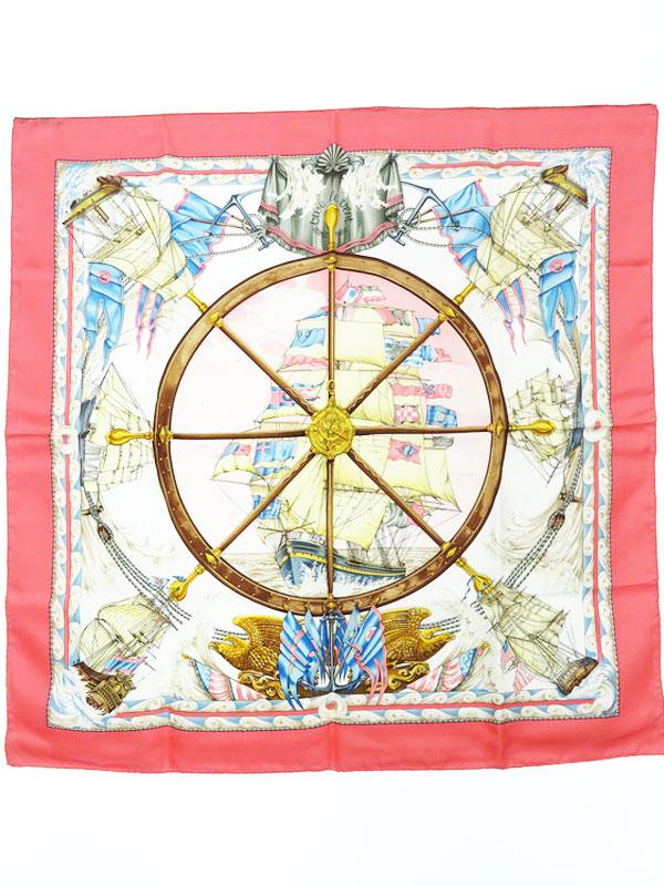 【HERMES】【vive le vent】【フランス製】エルメス『カレ90 風よ吹け』レディース スカーフ 1週間保証【中古】b05f/h21AB
