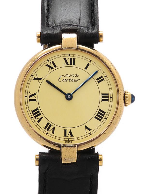 【Cartier】【電池交換済】カルティエ『マストヴァンドーム ヴェルメイユ』ボーイズ クォーツ 1ヶ月保証【中古】b01w/h08B