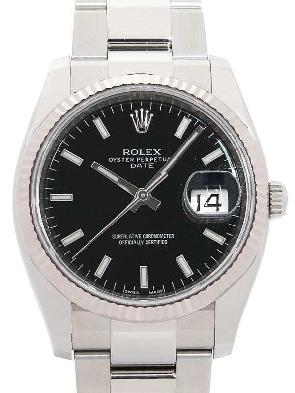【ROLEX】【'19年購入】ロレックス『オイスターパーペチュアル デイト』115234 ランダム番 メンズ 自動巻き 12ヶ月保証【中古】b01w/h02A