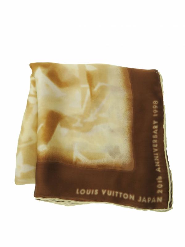 【LOUIS VUITTON】【ルイヴィトンジャパン20周年】【イタリア製】ルイヴィトン『シルクスカーフ』レディース 1週間保証【中古】b01f/h07AB