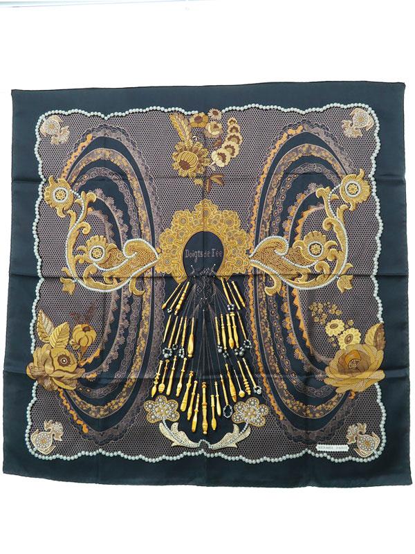 【HERMES】【Doigts de Fee】【フランス製】エルメス『カレ90 妖精の指』レディース スカーフ 1週間保証【中古】b05f/h07A