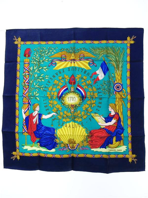 【HERMES】【1789 LIBERTE EGALITE FRATERNITE REPUBLIQUE FRANCAISE】【フランス製】エルメス『カレ90 1789年フランス革命を記念して』レディース【中古】b05f/h08AB