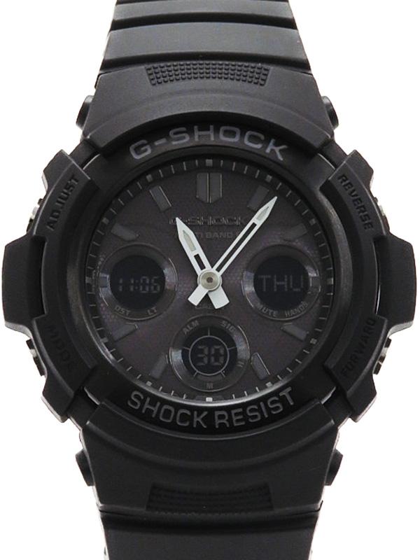 【CASIO】【G-SHOCK】カシオ『Gショック』AWG-M100B-1A メンズ ソーラー電波クォーツ 1週間保証【中古】b03w/h16A
