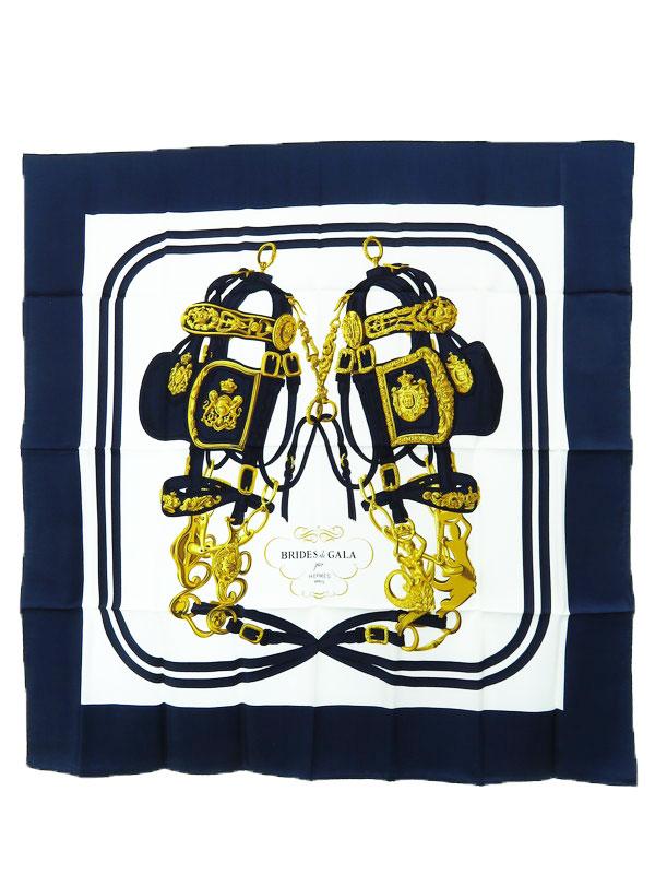 【HERMES】【BRIDES de GALA】【フランス製】エルメス『カレ90 式典用馬勒』レディース スカーフ 1週間保証【中古】b03f/h06A