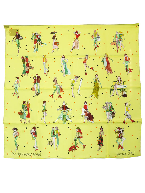 【HERMES】【LES PARISIENNES DE KIRAZ】【フランス製】エルメス『カレ70 パリジェンヌ』レディース スカーフ 1週間保証【中古】b01f/h02A