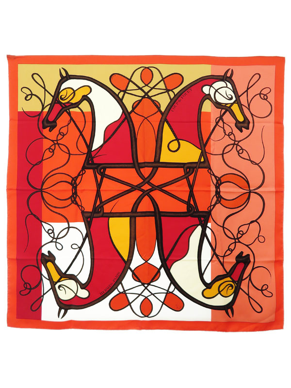 【HERMES】【COUP de FOUET】【フランス製】エルメス『カレ90 鞭』レディース スカーフ 1週間保証【中古】b01f/h08AB