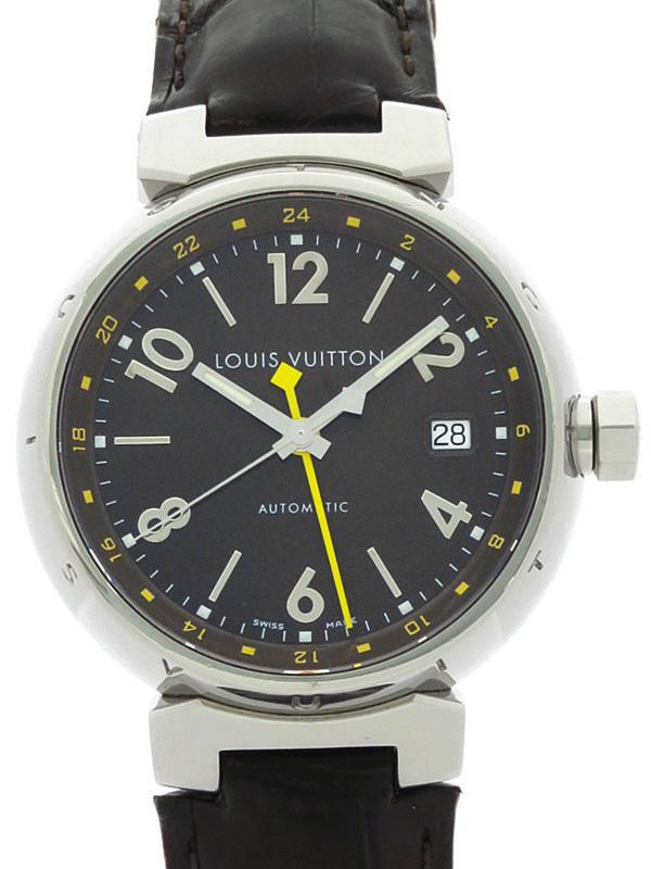 【LOUIS VUITTON】【OH済】ルイヴィトン『タンブール GMT』Q11310 メンズ 自動巻き 3ヶ月保証【中古】h03w/h00AB