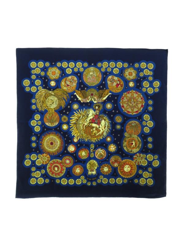 【HERMES】【LE ROY SOLEIL】エルメス『カレ90 太陽王』レディース スカーフ 1週間保証【中古】b01f/h10AB