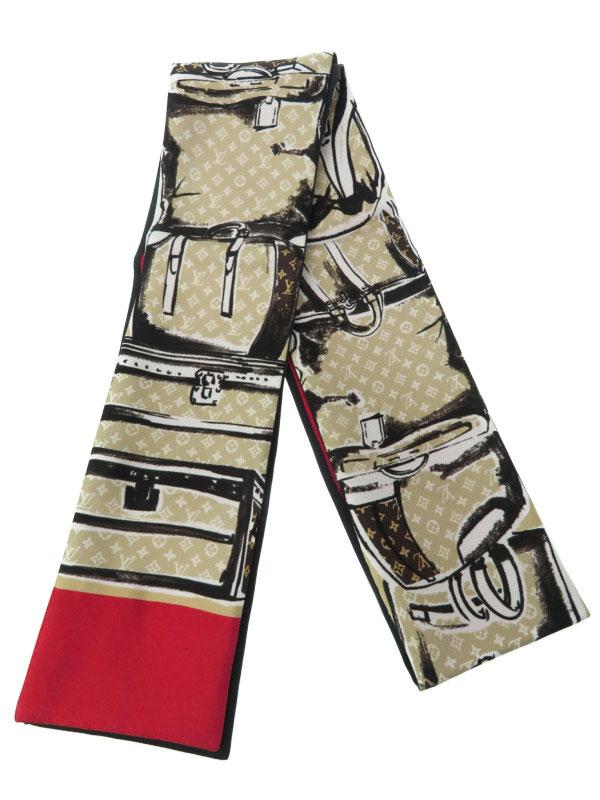 【Louis Vuitton】【イタリア製】【マロン】ルイヴィトン『バンドー・トランク』M73964 レディース スカーフ 1週間保証【中古】b03f/h06A