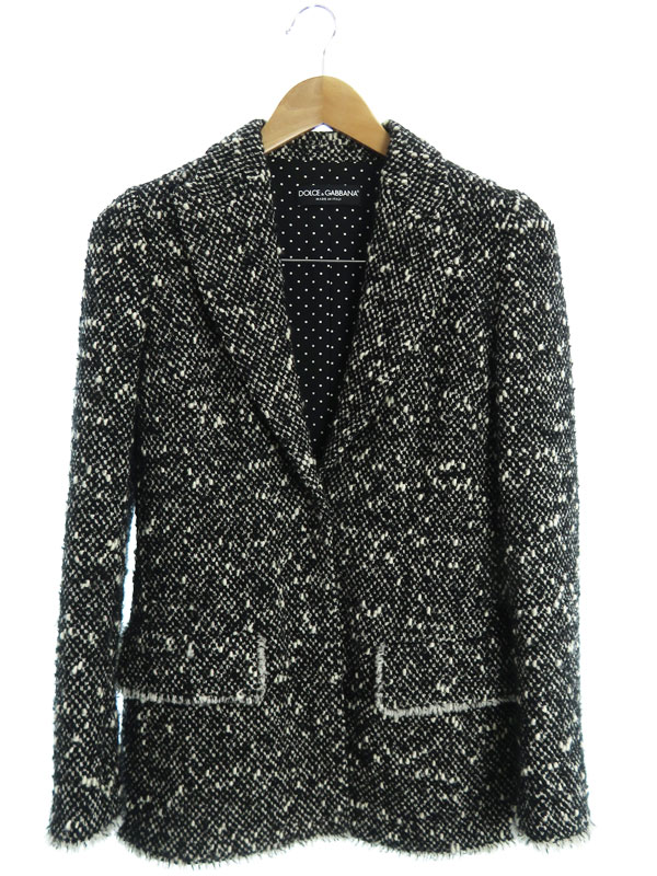 【Dolce&Gabbana】【イタリア製】【上下セット】ドルチェアンドガッバーナ『スカートスーツ size上38 下40』F287MT/FMMEL レディース セットアップ【中古】b03f/h16A