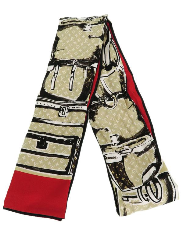 【Louis Vuitton】【マロン】【イタリア製】ルイヴィトン『バンドー・トランク』M73964 レディース スカーフ 1週間保証【中古】b03f/h17AB