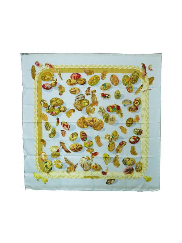 【HERMES】【Couvee d'Hermes】【フランス製】エルメス『カレ90 エルメスの卵』レディース スカーフ 1週間保証【中古】b01f/h20AB