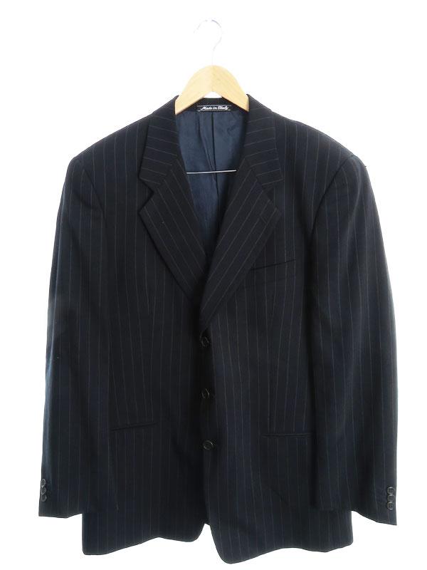 【Giorgio Armani】【イタリア製】【上下セット】ジョルジオアルマーニ『ストライプ柄 パンツスーツ size52R』メンズ セットアップ 1週間保証【中古】b01f/h14AB
