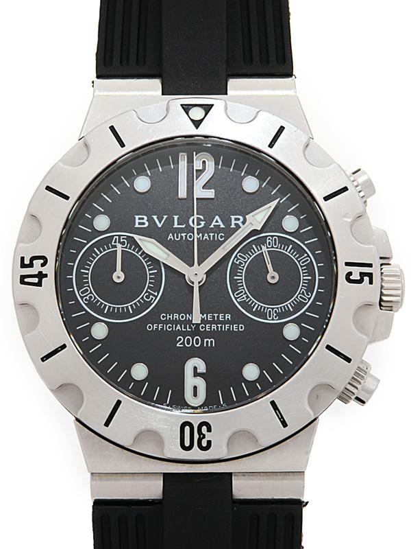 【BVLGARI】ブルガリ『ディアゴノ スクーバ クロノグラフ』SCB38S メンズ 自動巻き 1ヶ月保証【中古】b02w/h09AB