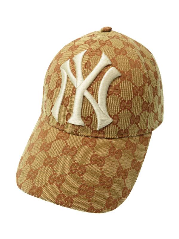 【GUCCI】【ニューヨークヤンキース】【パッチベースボールキャップ】【MLB】【イタリア製】グッチ『GG柄 キャップ size57-61』帽子 1週間保証【中古】b02f/h13AB