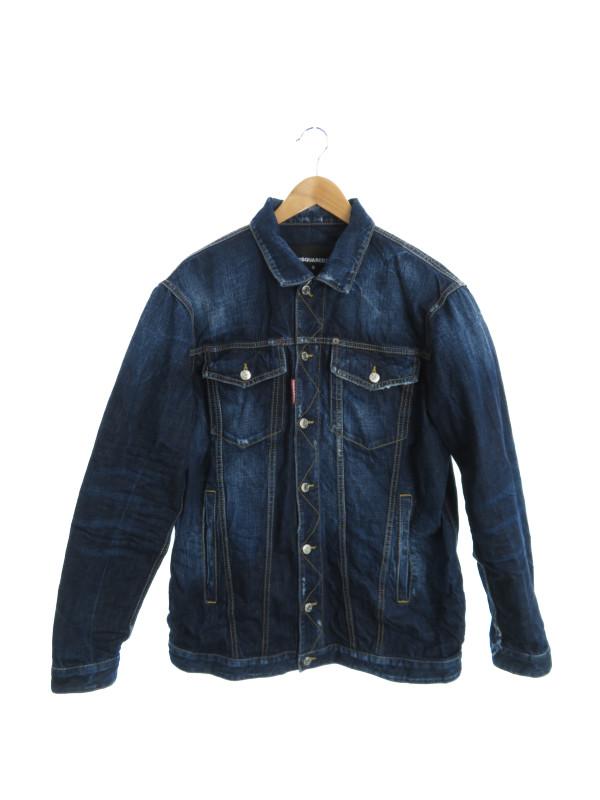 【DSQUARED2】【New Dark Sempice Over Denim Jacket】【イタリア製】ディースクエアード『デニムジャケット sizeS』S74AM0854 S30309 メンズ【中古】b02f/h21AB