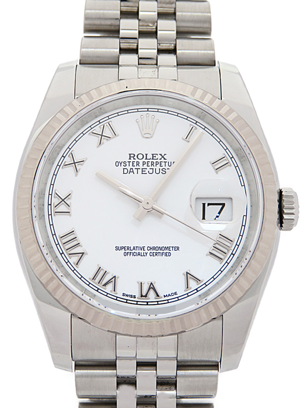 【ROLEX】【ホワイトローマン】【仕上済】ロレックス『デイトジャスト』116234 ランダム番 メンズ 自動巻き 12ヶ月保証【中古】b01w/h08A