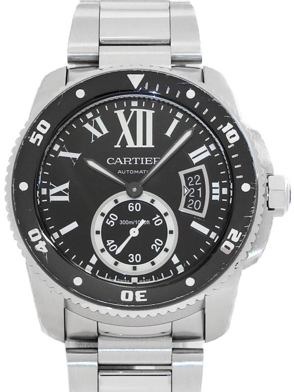 【CARTIER】【仕上済】カルティエ『カリブル ドゥ カルティエ ダイバー』W7100057 メンズ 自動巻き 6ヶ月保証【中古】b02w/h13AB