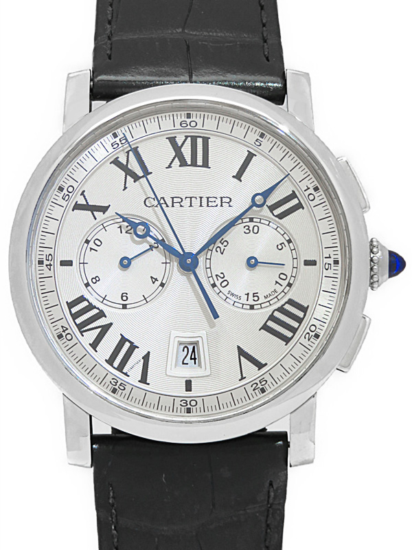 【Cartier】【裏スケ】【'18年購入】【'19年メーカーメンテナンス済】カルティエ『ロトンド クロノグラフ』WSRO0002 メンズ 自動巻き 6ヶ月保証【中古】b02w/h09A