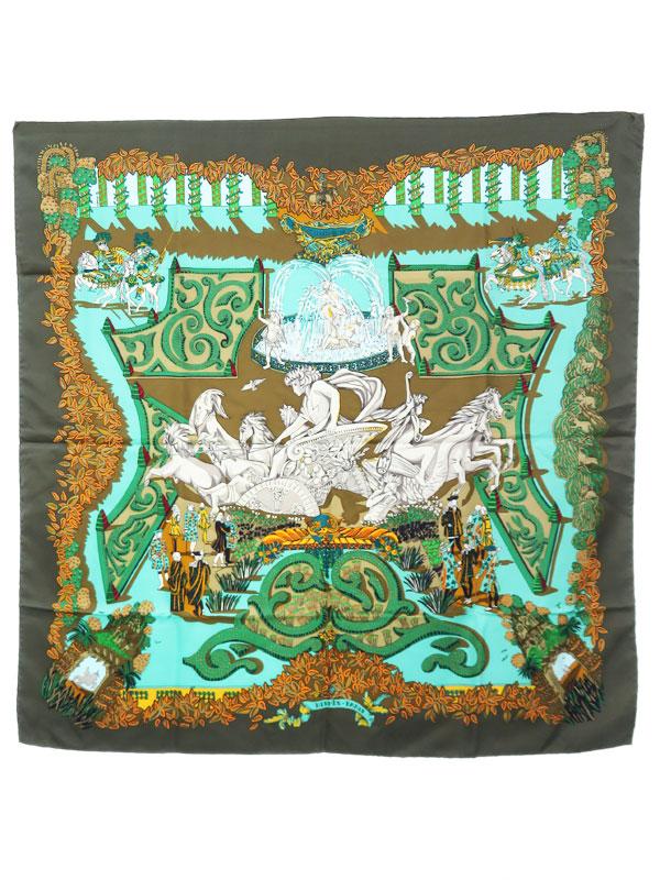 【HERMES】【LE PARADIS DU ROY】【フランス製】エルメス『カレ90 王の楽園』レディース スカーフ 1週間保証【中古】b02f/h12AB