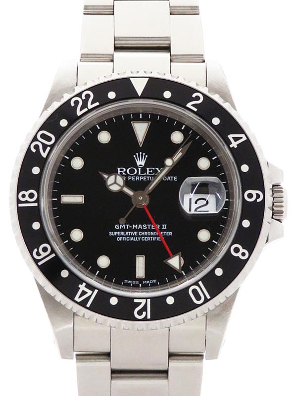 【ROLEX】【OH済】ロレックス『GMTマスター2 黒ベゼル』16710LN A番'99年頃製 メンズ 自動巻き 12ヶ月保証【中古】b03w/h15B