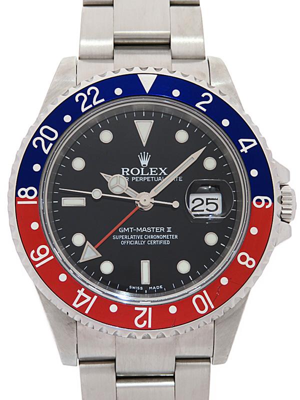 【ROLEX】【ペプシベゼル】【OH・仕上済】【Cal.3185】ロレックス『GMTマスター2 赤×青ベゼル』16710 Z番'06年頃製 メンズ 自動巻き 12ヶ月保証【中古】b03w/h20AB