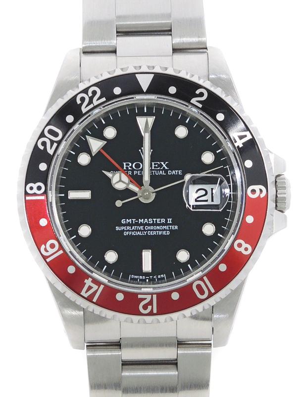 上品な 【ROLEX】【内部点検済】【シングルバックル】ロレックス『GMTマスター2 赤×黒ベゼル』16710 T番'96年頃製 メンズ 自動巻き 12ヶ月保証【】b02w/h18AB, 若者の大愛商品 46a4a109
