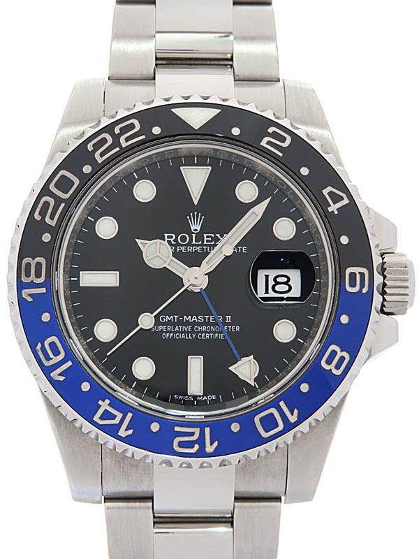 【ROLEX】【鏡面バックル】【'15年購入】ロレックス『GMTマスター2 青×黒ベゼル』116710BLNR ランダム番 メンズ 自動巻き 12ヶ月保証【中古】b02w/h03A