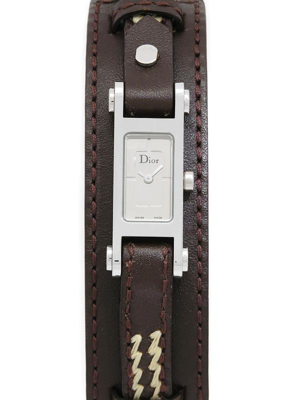 【Christian Dior】【電池交換済】クリスチャンディオール『レザーバングルウォッチ』D104-100 レディース クォーツ 1週間保証【中古】b02w/h13A