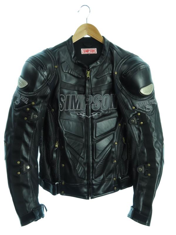 【SIMPSON】【バイクウェア】シンプソン『プロテクター入り フェイクレザーレーシングジャケット sizeL』メンズ 1週間保証【中古】b02f/h04AB