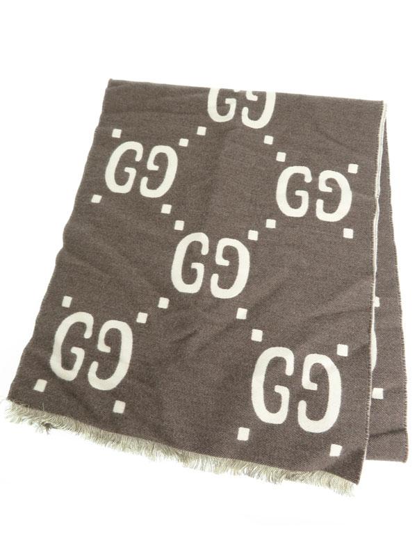 【GUCCI】【イタリア製】グッチ『GGウール スカーフ』ユニセックス マフラー 1週間保証【中古】b01f/h10AB