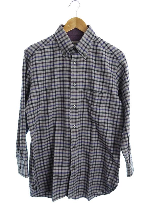 【Brioni】【イタリア製】【トップス】ブリオーニ『チェック柄 長袖ボタンダウンシャツ size3』メンズ 1週間保証【中古】b03f/h14AB